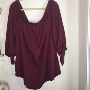 Time to bloom burgundy long sleeve top size 3X
